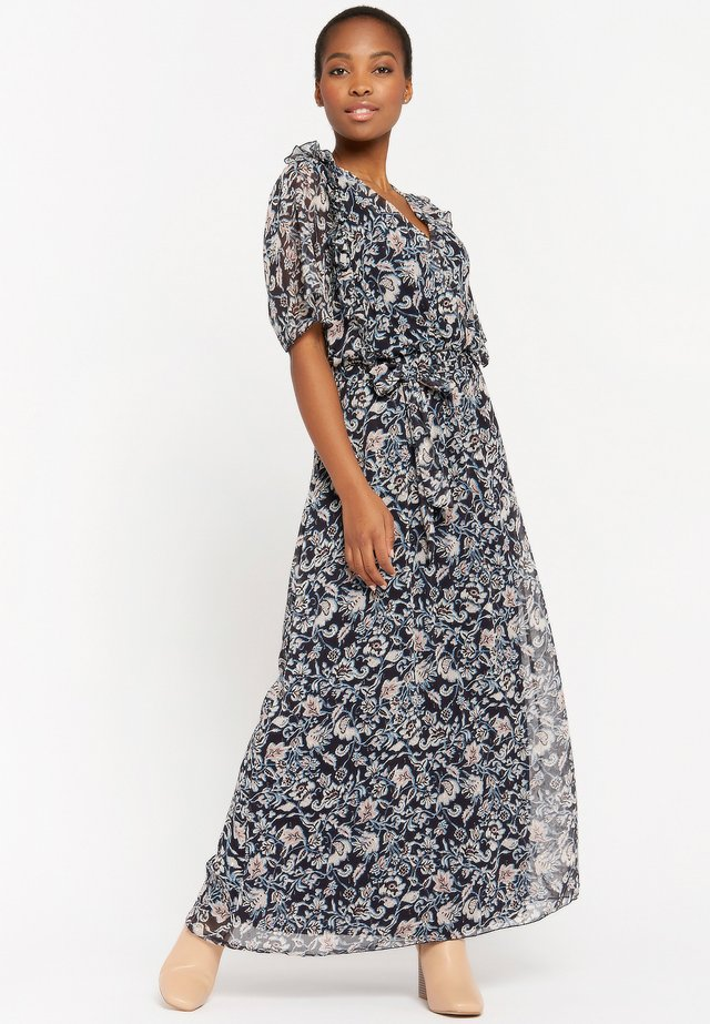 WITH FLOWER PRINT - Maxi-jurk - navy blue