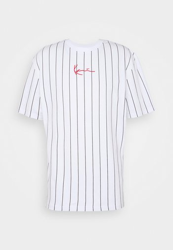 SMALL SIGNATURE PINSTRIPE TEE UNISEX - Print T-shirt - white/black