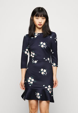 MINI DRESS WITH FRILL HEM - Day dress - navy floral