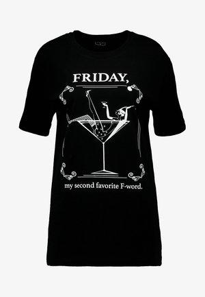 LADIES WORD TEE - Print T-shirt - black
