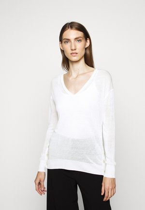 SIDE BUTTON V NECK - Jumper - ivory