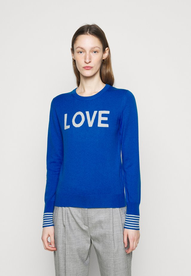 LOVE - Stickad tröja - royal blue/cream