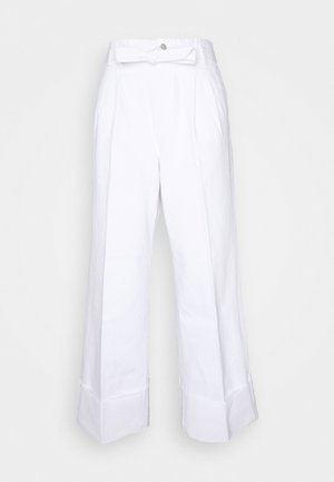 LOUISA HIGH RISE TIE WAIST PANT - Flared Jeans - white