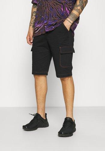 POCKET UTILITY CARGO UNISEX - Denim shorts - black