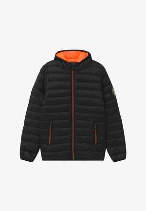 KID MINI - Zimní bunda - black/neon orange