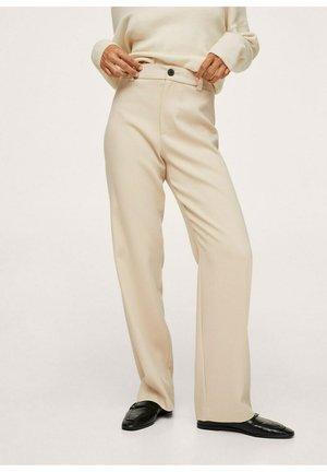 HIGH-WAIST STRAIGHT - Trousers - écru