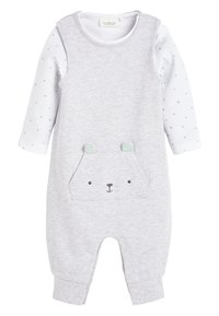 Next - GREY GOTS ORGANIC DUNGAREES AND BODYSUIT SET (0-12MTHS) - Body - grey - 0