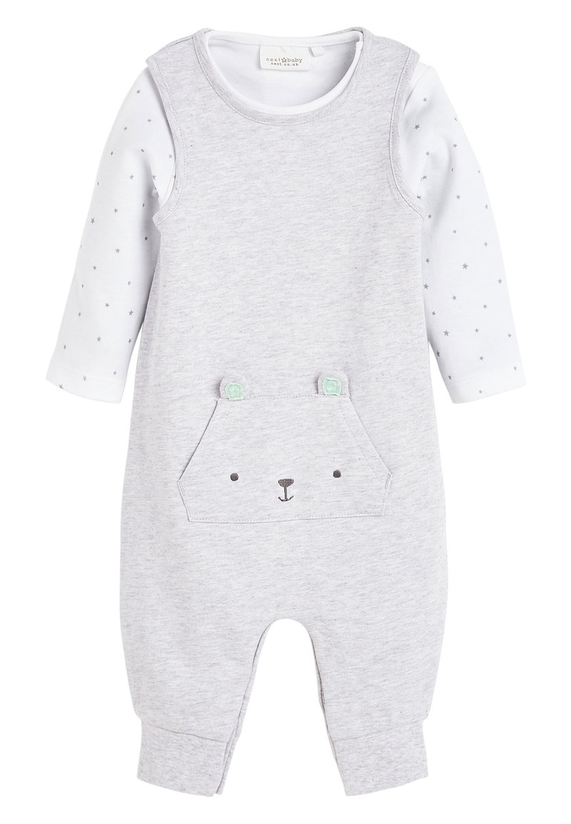 Next - GREY GOTS ORGANIC DUNGAREES AND BODYSUIT SET (0-12MTHS) - Body - grey