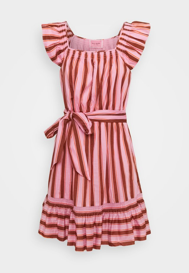 CALAIS STRIPE FLUTTER DRESS - Day dress - rosy carnation