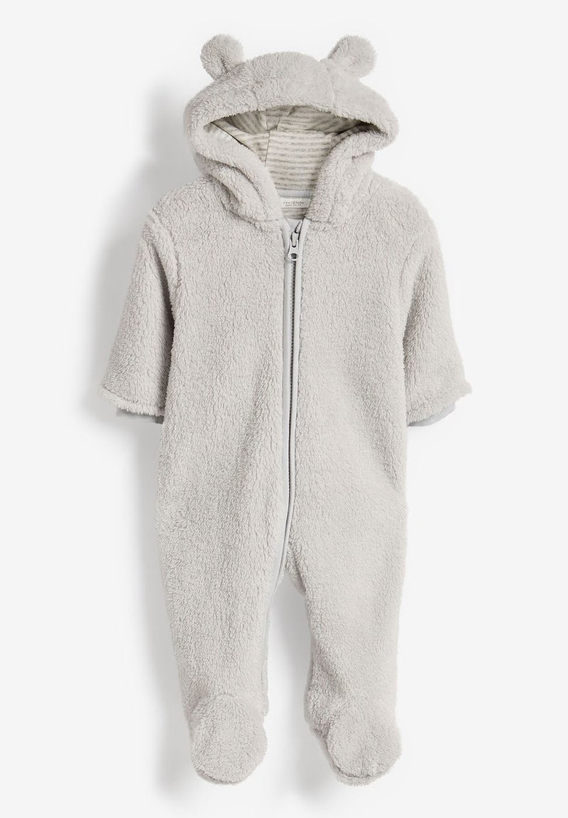 Next - ECRU COSY FLEECE BEAR PRAMSUIT (0MTHS-2YRS) - Jumpsuit - grey