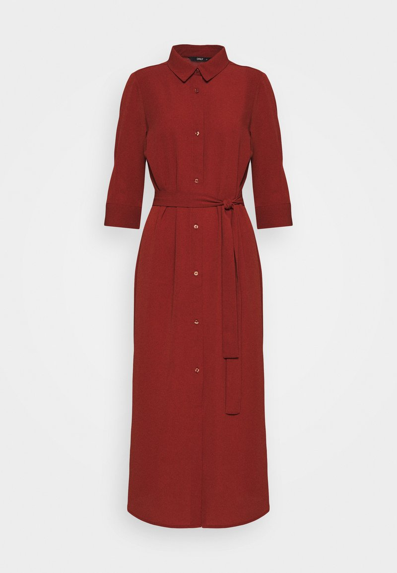 ONLY - ONLNOVA LUX 3/4 SHIRT DRESS SOLID - Day dress - brown