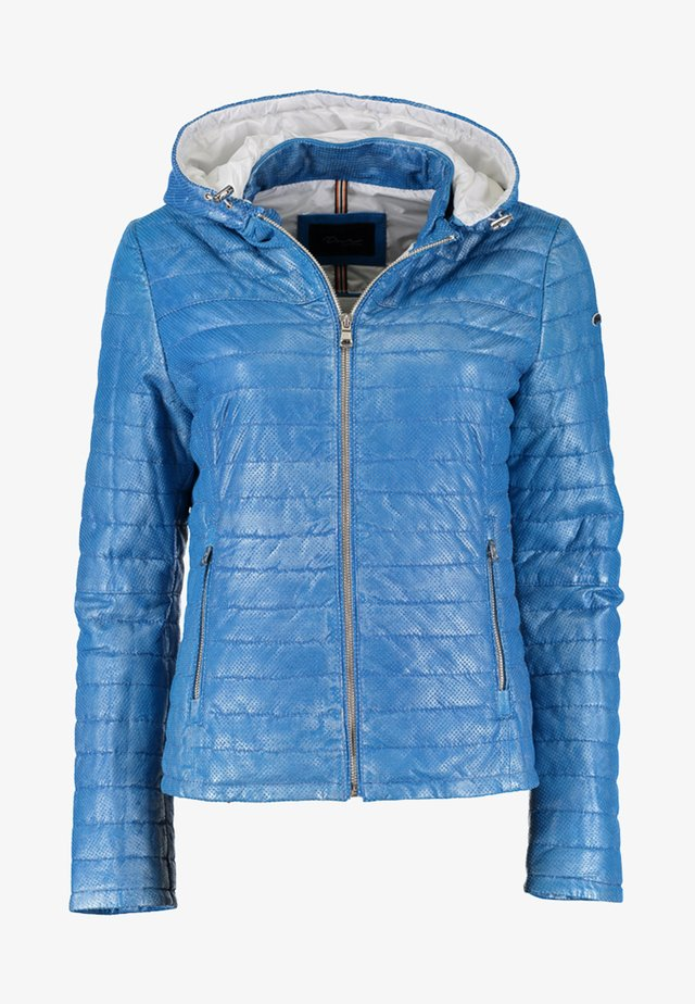 MIT KAPUZE - Leather jacket - blue