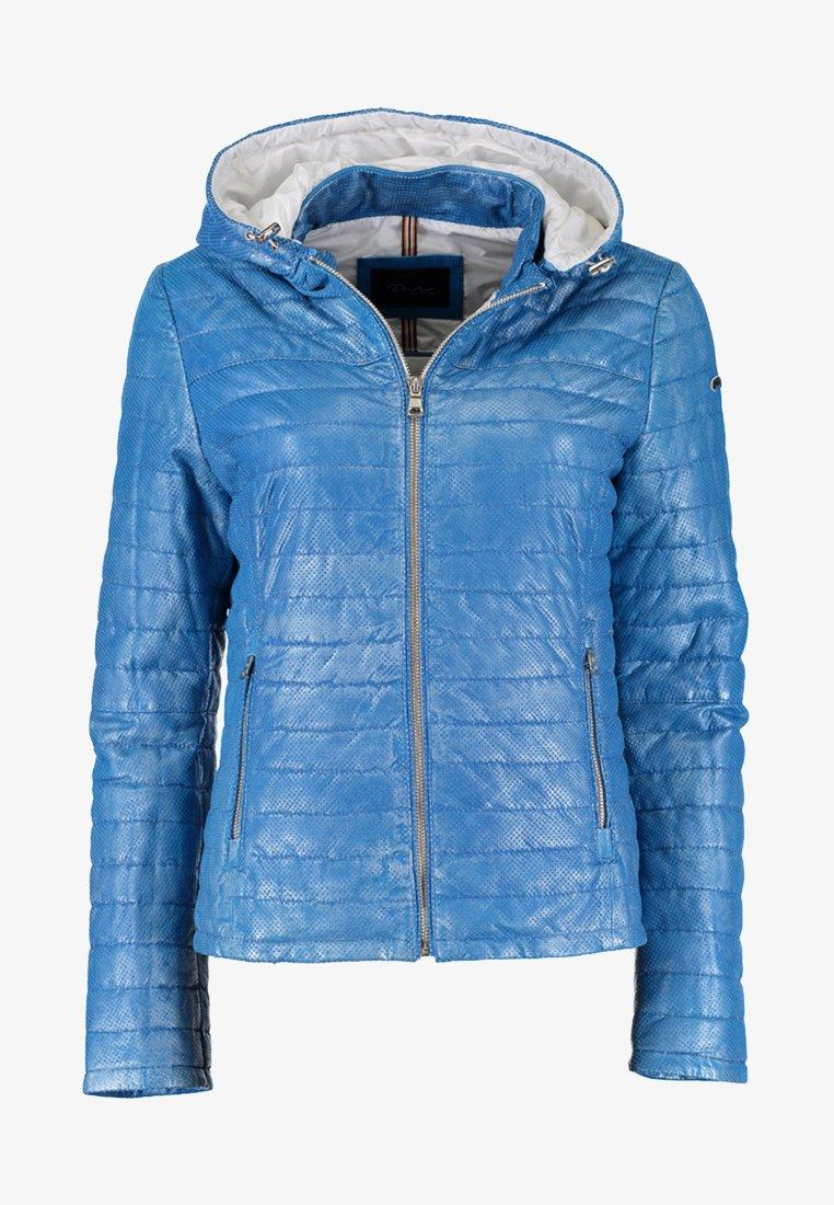 DNR Jackets - MIT KAPUZE - Leather jacket - blue