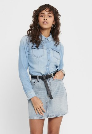 Button-down blouse - light blue denim