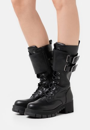 MAJOR - Botas con cordones - black