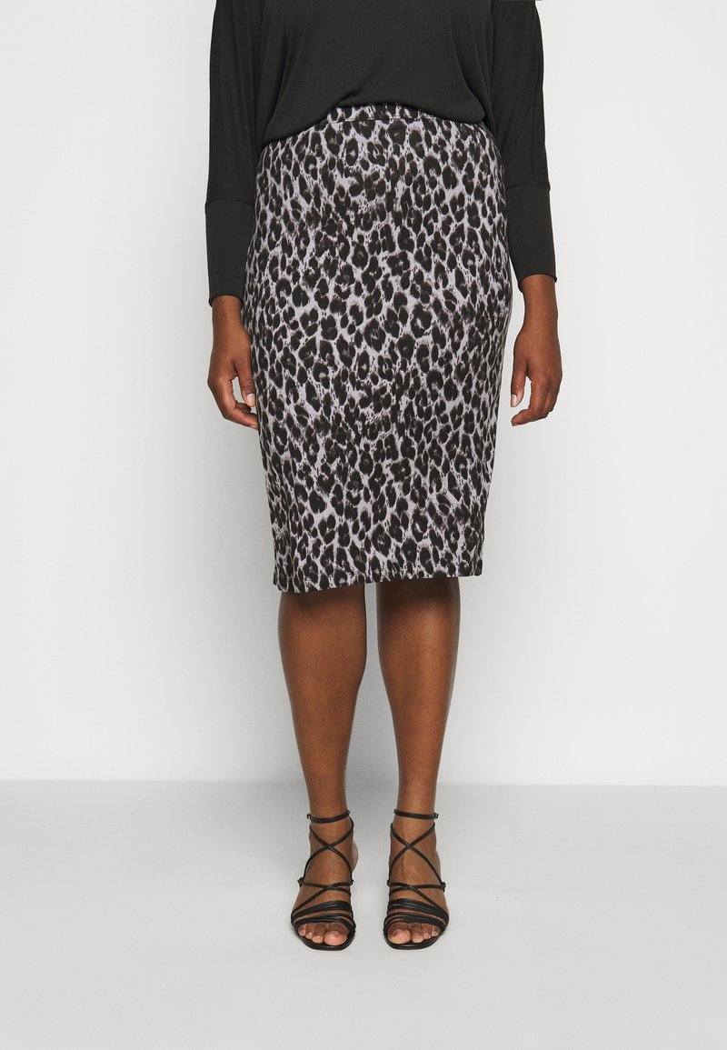 CAPSULE by Simply Be - LEOPARD PRINT MIDI TUBE SKIRT - Pencil skirt - black/grey