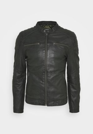 JACKET - Leather jacket - miltary green