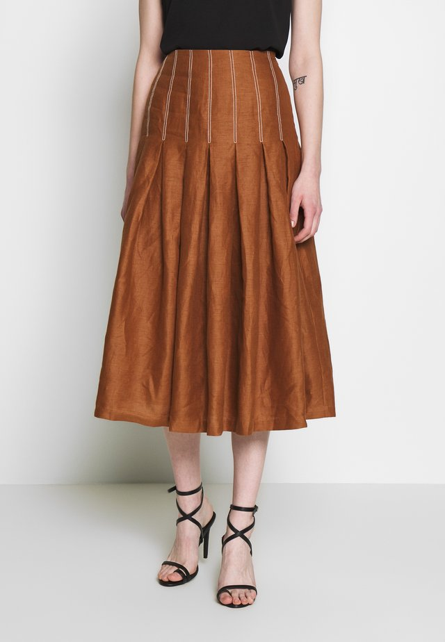 BAY MIDI SKIRT - Jupe trapèze - chocolate