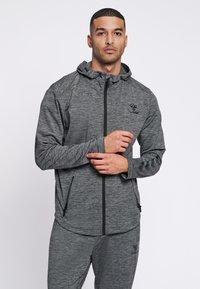 Hummel - ASTON - Zip-up sweatshirt - dark grey melange - 0