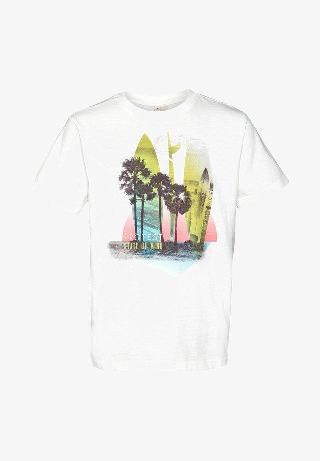 RIK JR  - Print T-shirt - off-white/light blue/pink