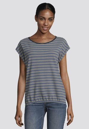 Print T-shirt - blue white structure