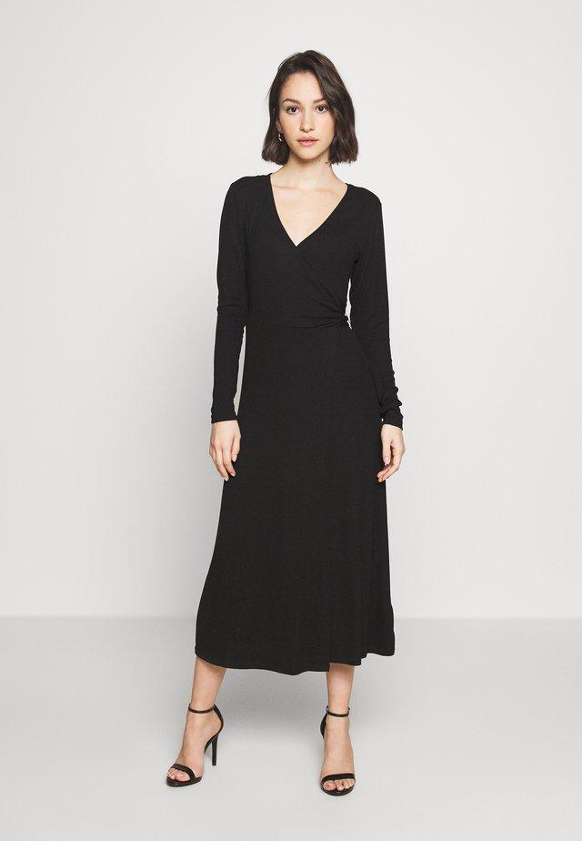 SOLID WRAP DRESS - Freizeitkleid - black