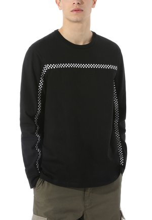 MN CHECK THROUGH LS - Long sleeved top - black