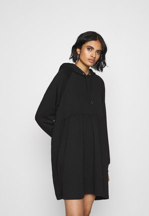 MALIN HOODIE DRESS - Denní šaty - black dark unique