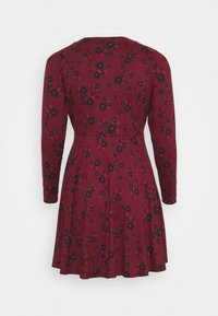 Simply Be - WRAP SKATER DRESS - Jersey dress - dark red - 1