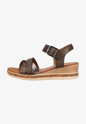 Wedge sandals - forest/altsilber