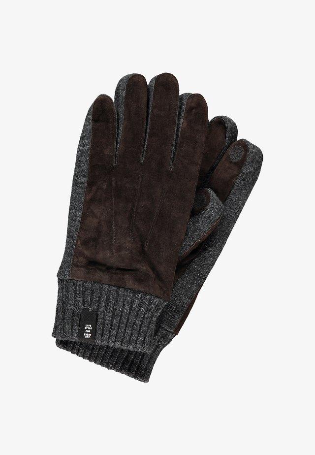 MIT VELOURSLEDERBESATZ - Gloves - dark brown