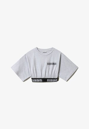 S BOX CROP WIDE - Print T-shirt - light grey melange