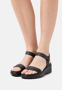 ECCO - FLOWT WEDGE  - Platform sandals - black - 0
