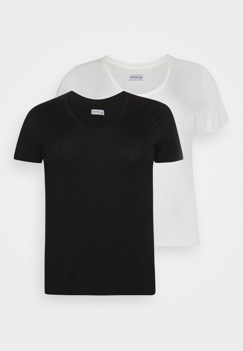Anna Field Curvy - 2 PACK  - Basic T-shirt - black / white