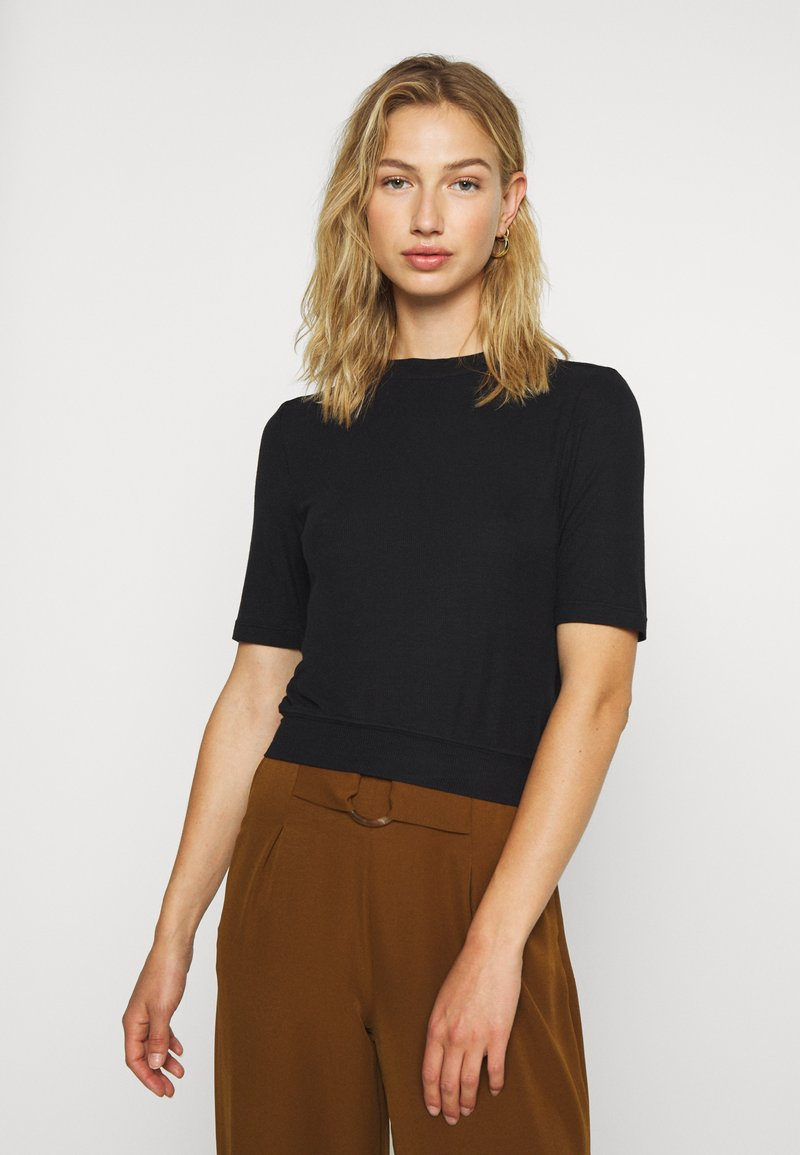 Noisy May - NMHENLEY SLEEVE CROPPED - Basic T-shirt - black