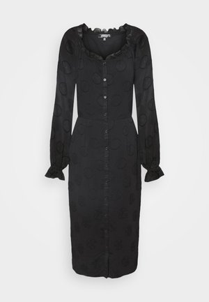 FRILL NECK MIDI DRESS - Denní šaty - black