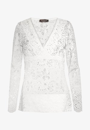 SILK-MIX T-SHIRT REGULAR LS W/LACE - Blůza - ivory