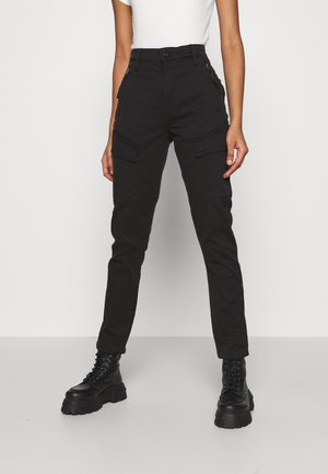 HIGH G-SHAPE CARGO SKINNY PANT - Cargo trousers - dk black gd