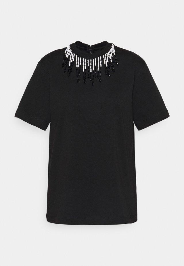 BEADED - Print T-shirt - black