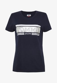 Tommy Jeans - METALLIC LOGO TEE - T-shirts med print - twilight navy - 3