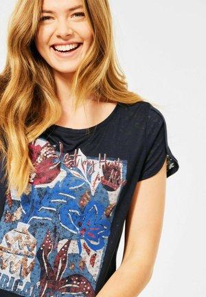 BURNOUT OPTIK - Print T-shirt - blau