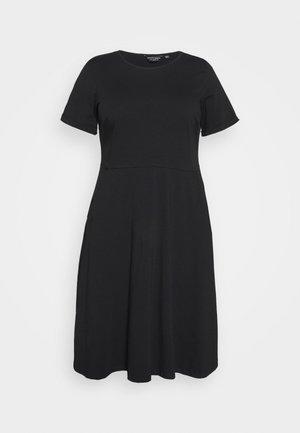 FLORAL DRESS - Jersey dress - black