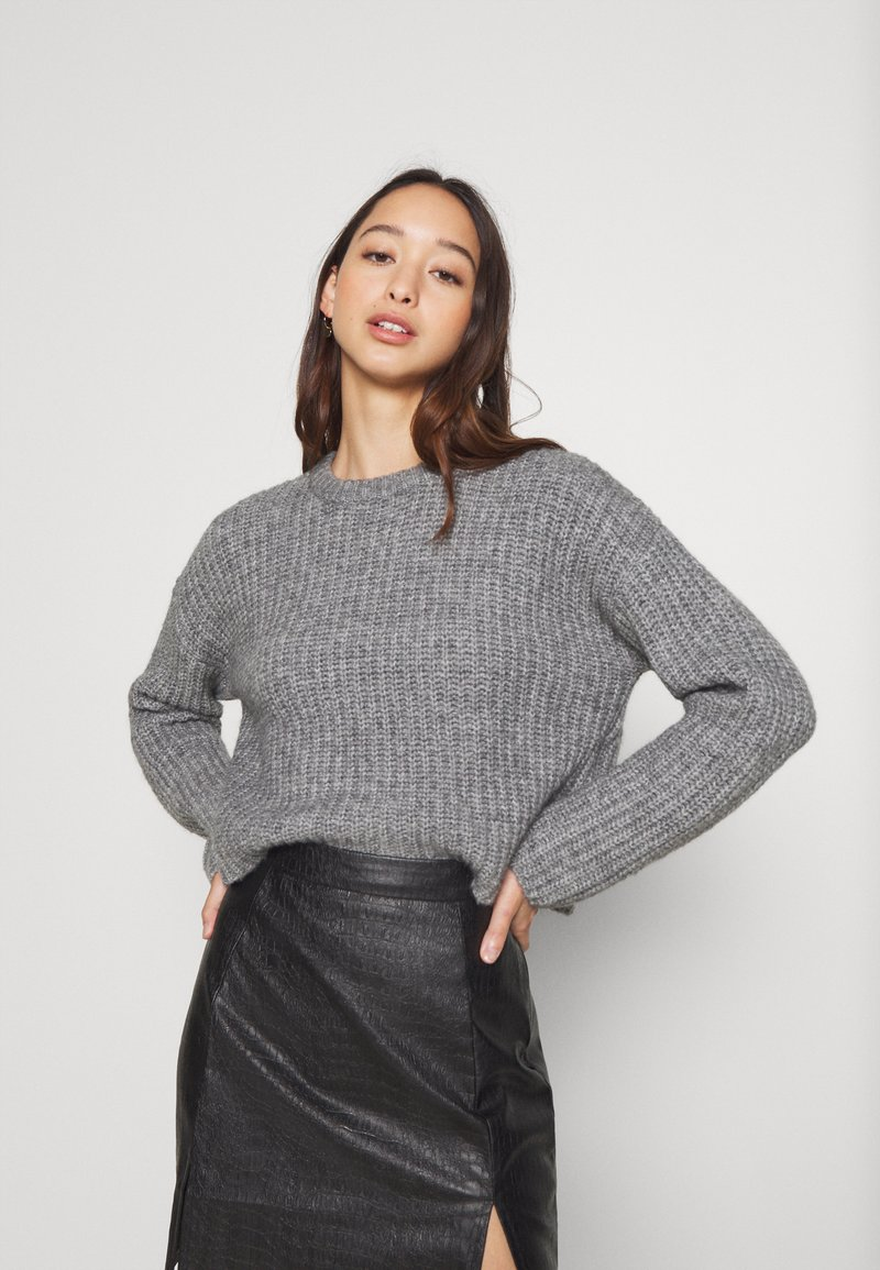Even&Odd - CROPPED WOOL BLEND JUMPER - Jumper - mottled grey