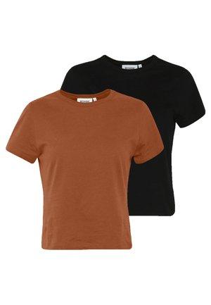 FOREVER 2 PACK - Basic T-shirt - rust/black