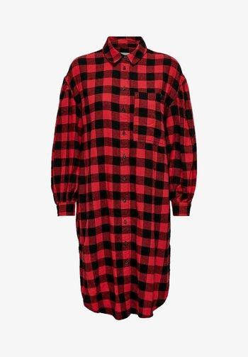 Shirt dress - high risk red