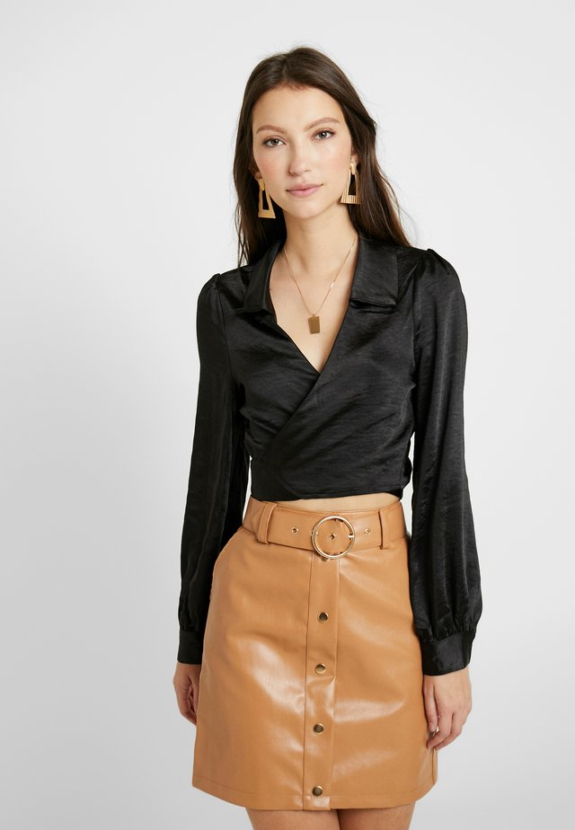 LONG SLEEVE TIE FRONT COLLARED - Blouse - black