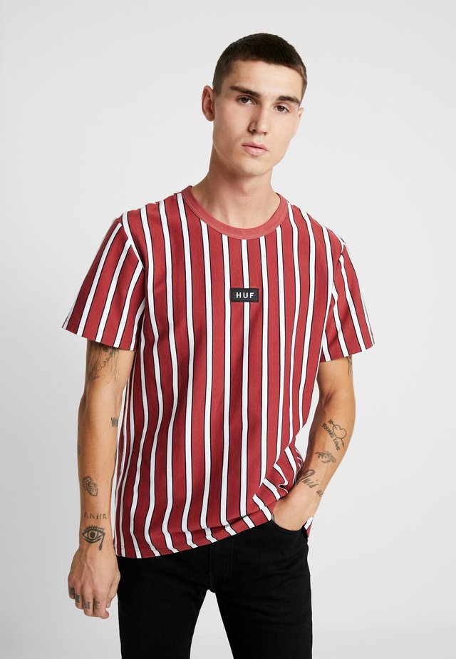 DEXTER STRIPE TOP - T-shirt print - rose wood red