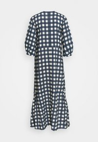 Victoria Victoria Beckham - BELL SLEEVE GINGHAM CHECK DRESS - Maxi dress - midnight blue/white sand - 1