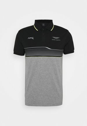 AMR STRIPE POLO - Polo shirt - black/grey