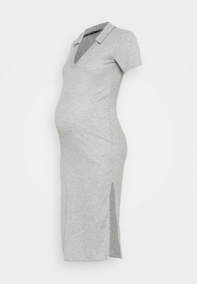 V NECK COLLARE DRESS - Jersey dress - grey marl